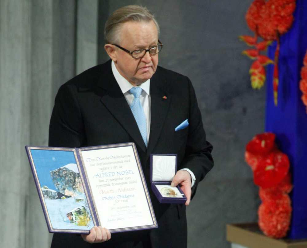 2008 fick Martti Ahtisaari fredspriset för arbetet att nå fredliga lösningar på internationella konflikter.