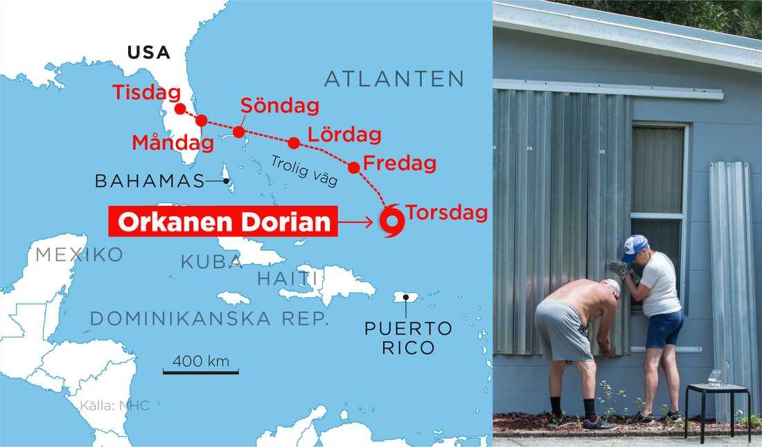 Orkanen Dorians väg mot USA.