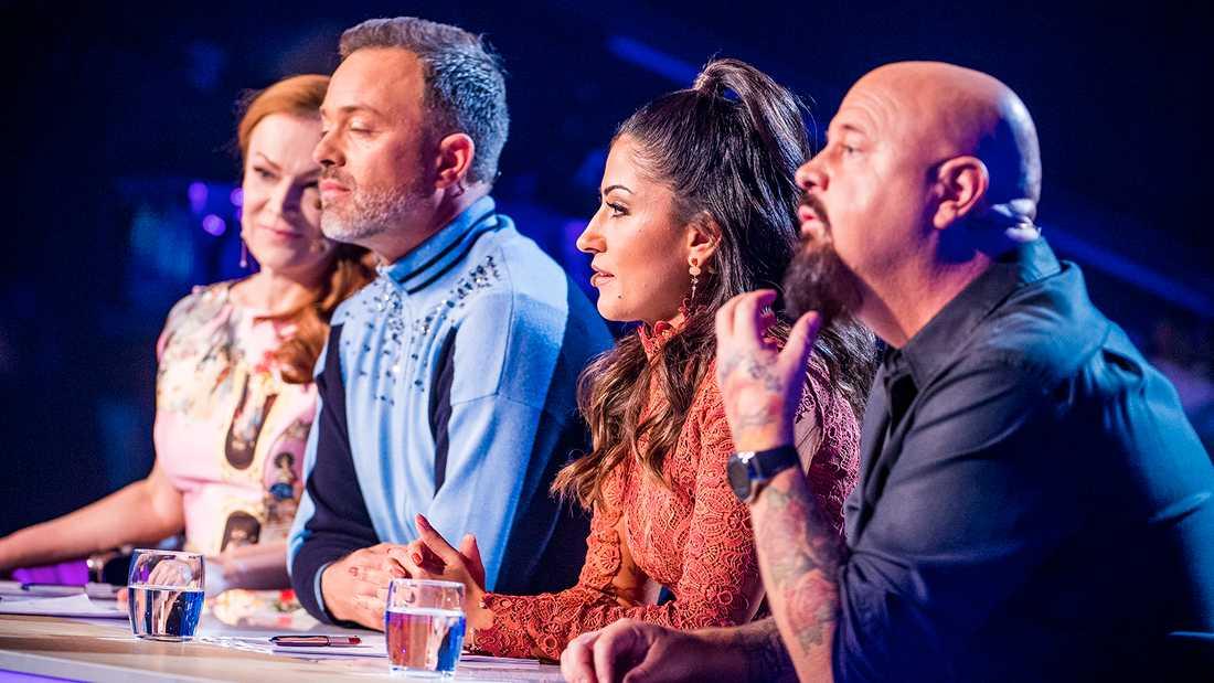 """Alexander Kronlund och de andra i """"Idol""""-juryn."""