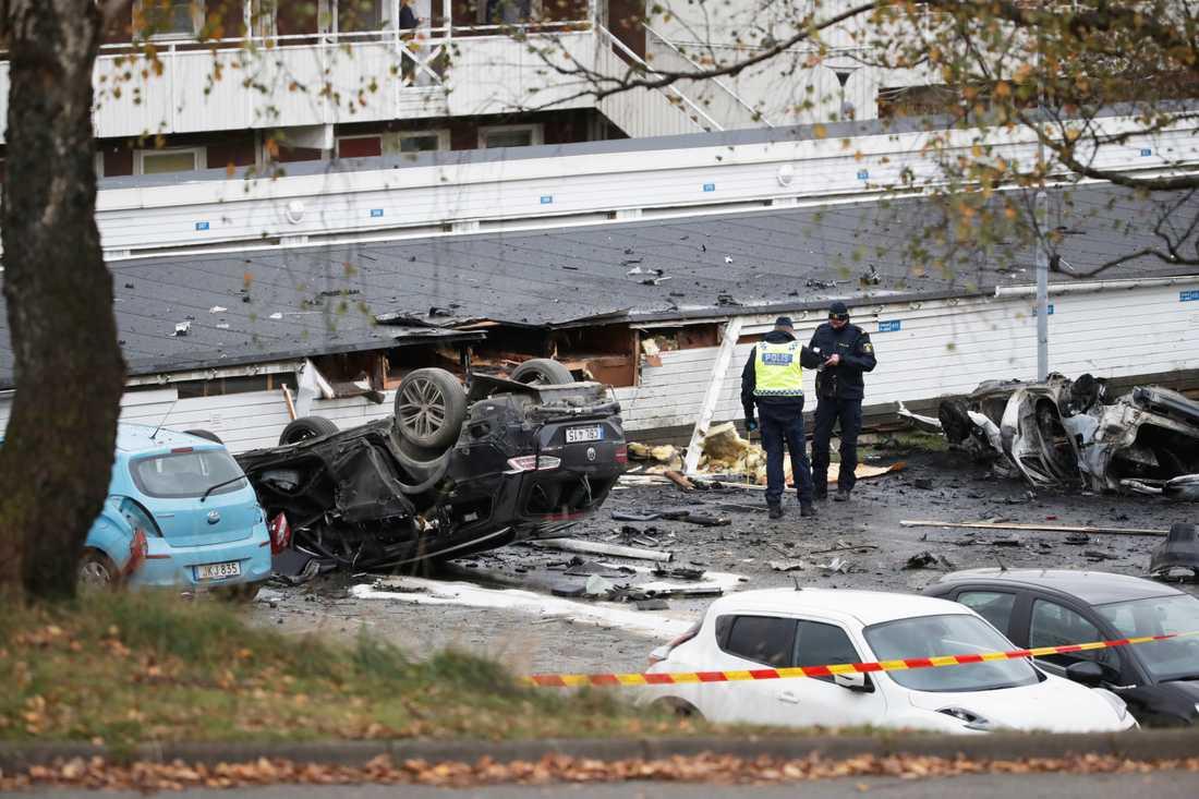 Polisen utreder en explosion i Landvetter.