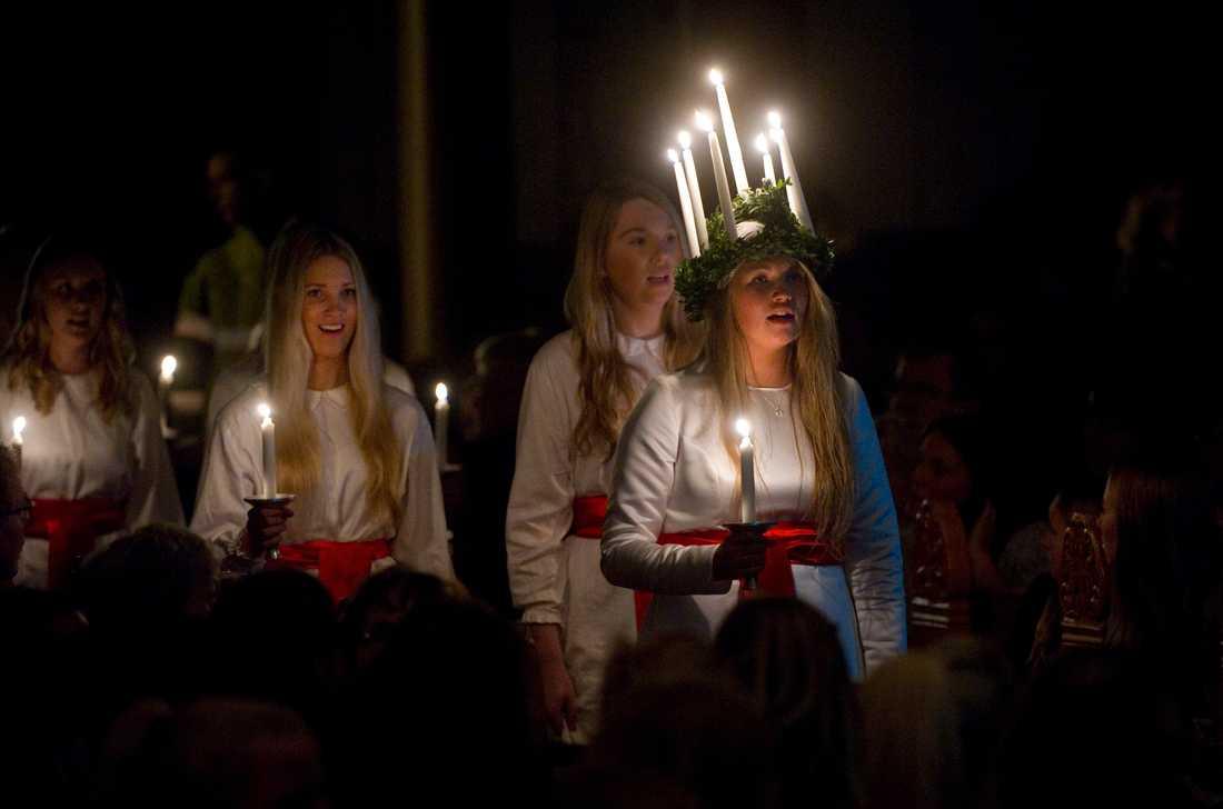 """SVT sänder """"Luciamorgon"""" även i år, denna gång från Jukkasjärvi. (Bild från ett annat luciafirande.) Arkivbild."""