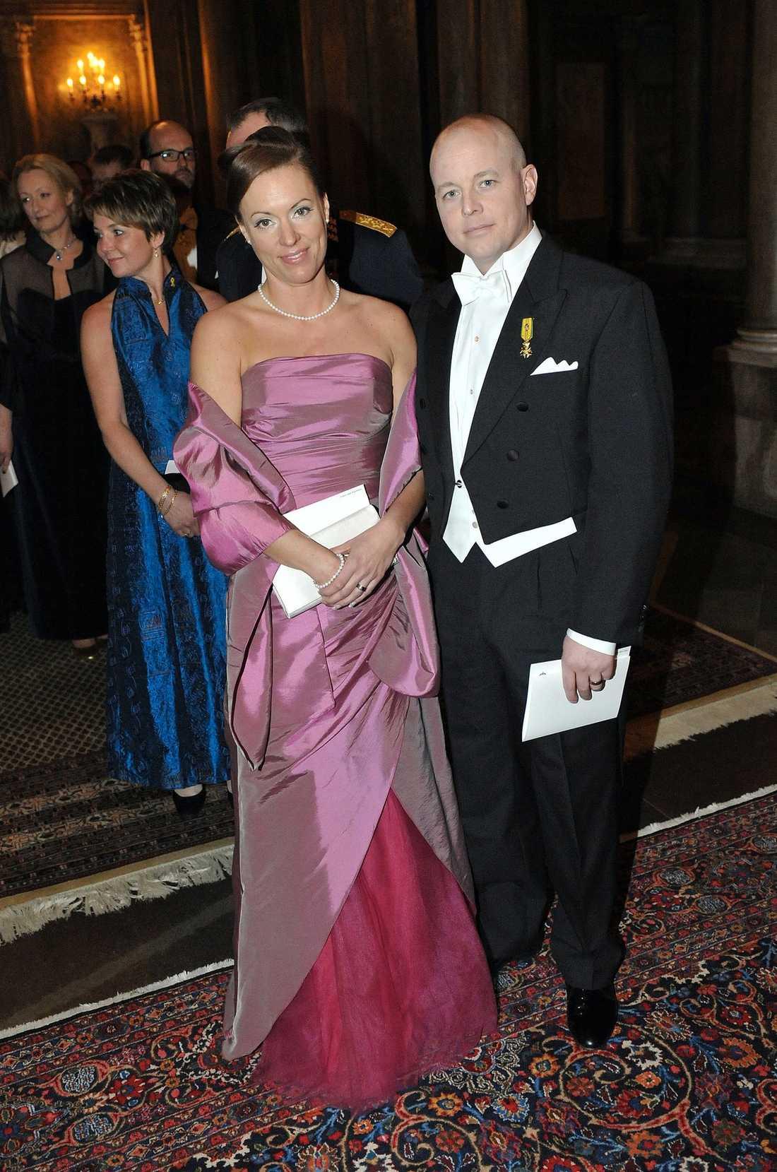 Björn Söder gick på balen med sin fru Anna Wigenstorp. Bilden är från en middag på Kungliga slottet förra året.