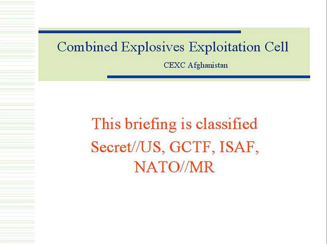 Kartläggningar av CEXC, USA:s bombexperter i Afghanistan, utredning om attentatet som dödade två svenska soldater, analyser av självmordsbombare och instruktion för bombtillverkning förvarades helt öppet på ett bibliotek.