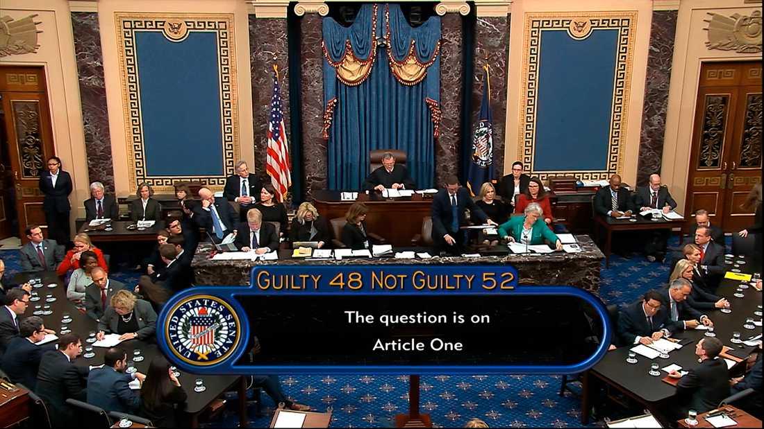 Senaten i USA:s kongress röstade på onsdagen för att fria president Donald Trump i riksrättsprocessen.