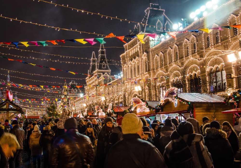 Julmarknad på Röda Torget i Moskva