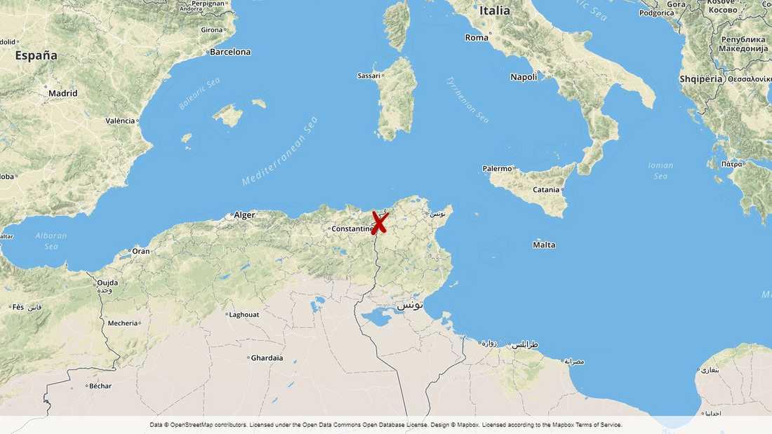 Olyckan inträffade i Jendouba-regionen i nordvästra Tunisien.