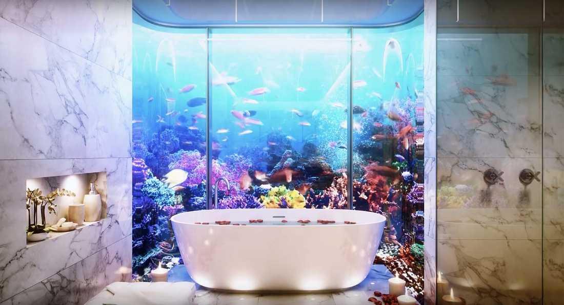 Där finns även badrummet – och utanför ska det till skyddade korallrev för utrotningshotade sjöhästar.