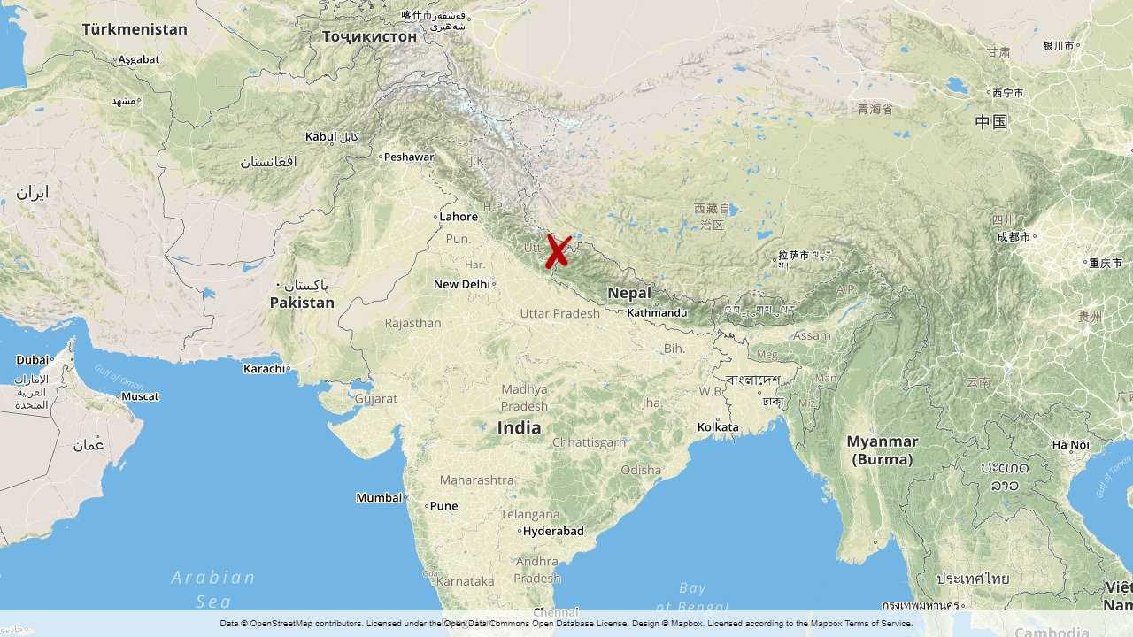 Indien och Nepal tvistar om området Kalapani.