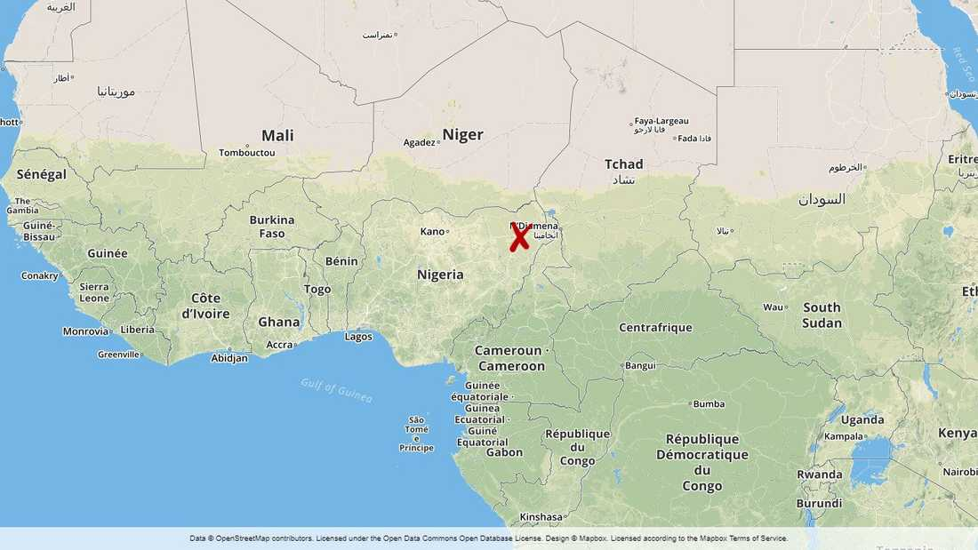 Jakana ligger cirka 2,5 mil nordöst om staden Maiduguri i delstaten Borno i Nigeria.