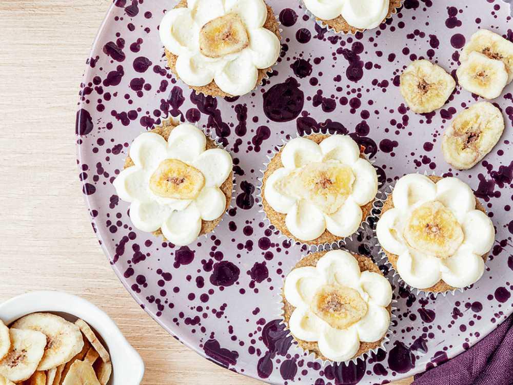 Blommande banancupcakes.