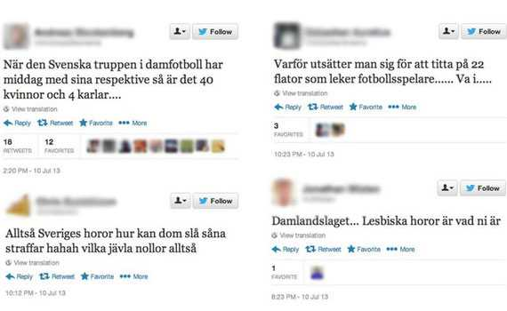 NÄTHAT Ett par exempel av de nedsättande tweets som skickats om damlandslaget.
