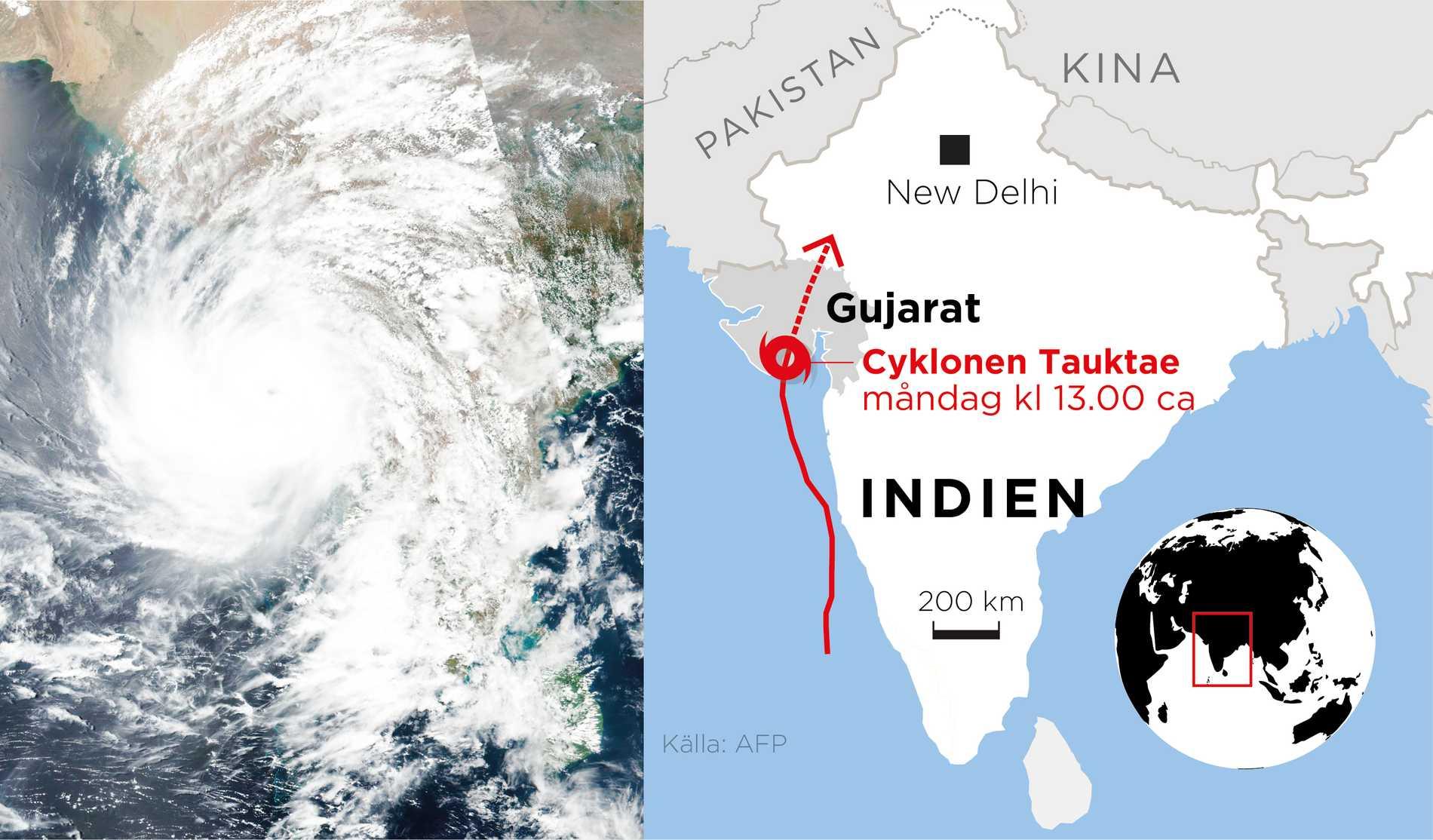 Delstaten Gujarat drabbas av cyklonen Tauktae som krävt flera liv.
