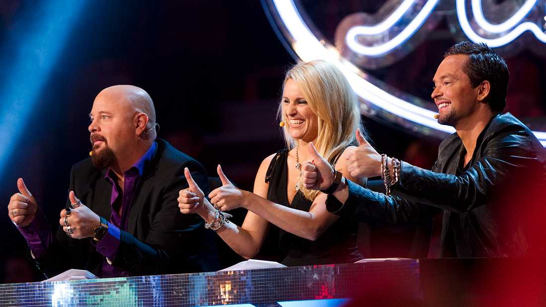 "Andreas Carlsson med Laila Bagge och Anders Bagge i ""Idol""-juryn 2010."