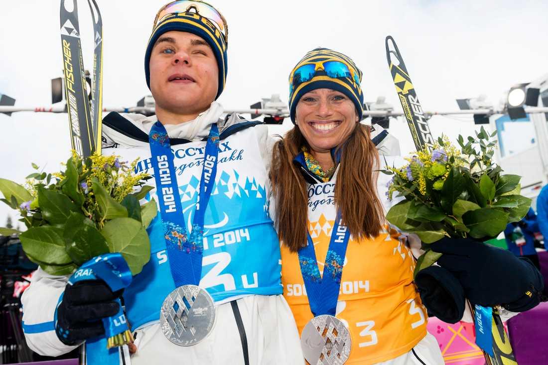 Zebastian Modin och Helene Ripa tog silver i stafett på Paralympics i Sotji, och gjorde om bedriften nu på VM. Arkivbild.