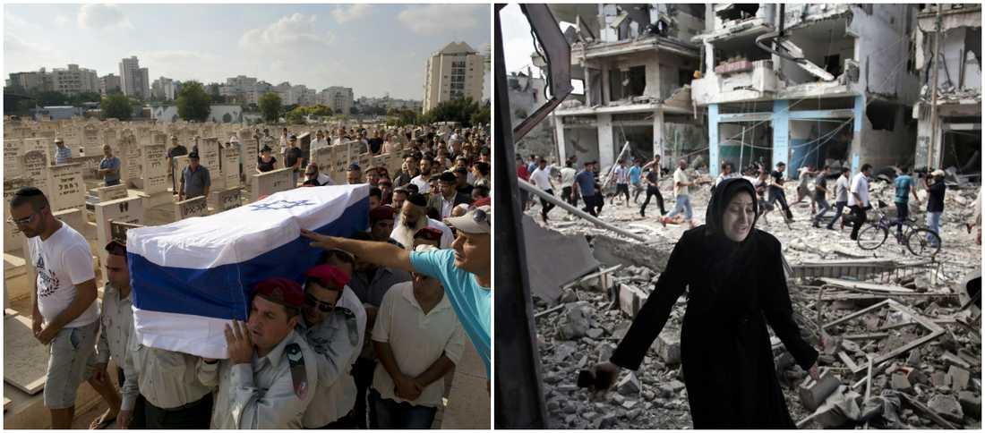 En israelisk soldat begravs. I Gaza ser en palestinsk kvinna sitt hem i ruiner. Men det kan finnas en lösning på konflikten, menar forskare.