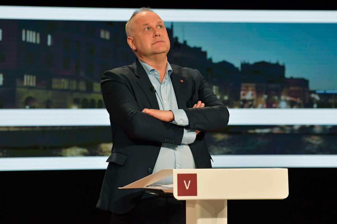 Vänsterns partiledare Jonas Sjöstedt inför partiledardebatten i SVT i söndags. Arkivbild.