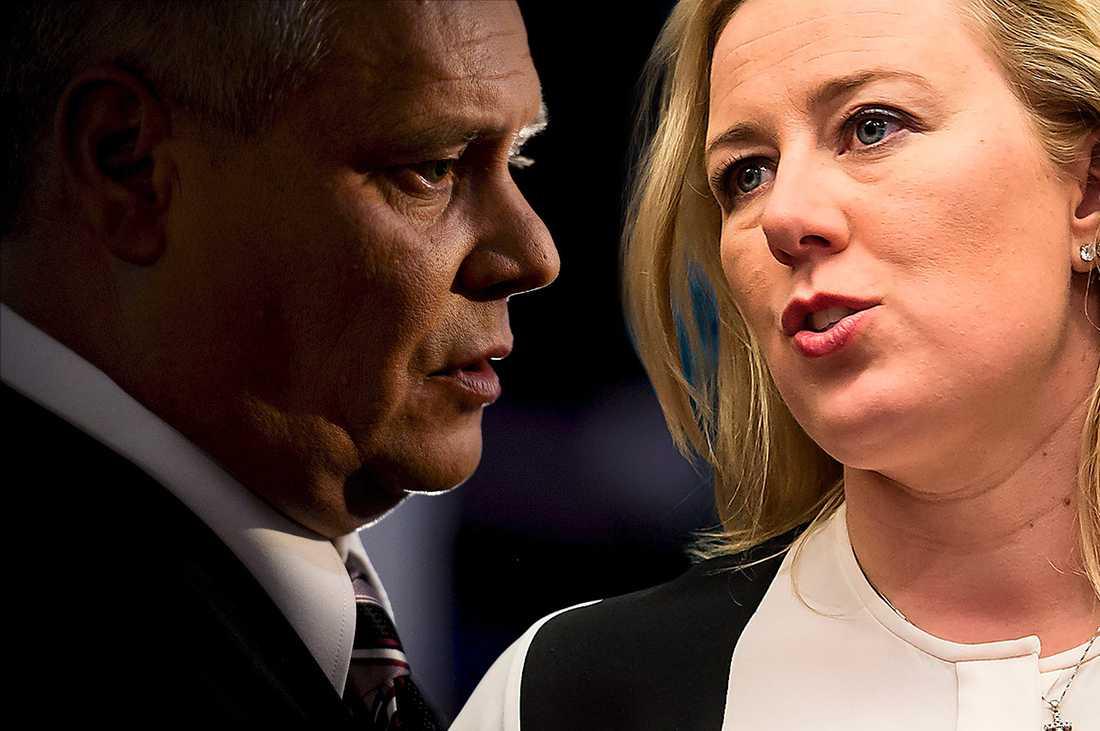 Vann striden På partikongressen i fredags vann Antti Rinne partiledarstriden mot sittande ordföranden Jutta Urpilainen. OBS! Denna bild är ett montage.