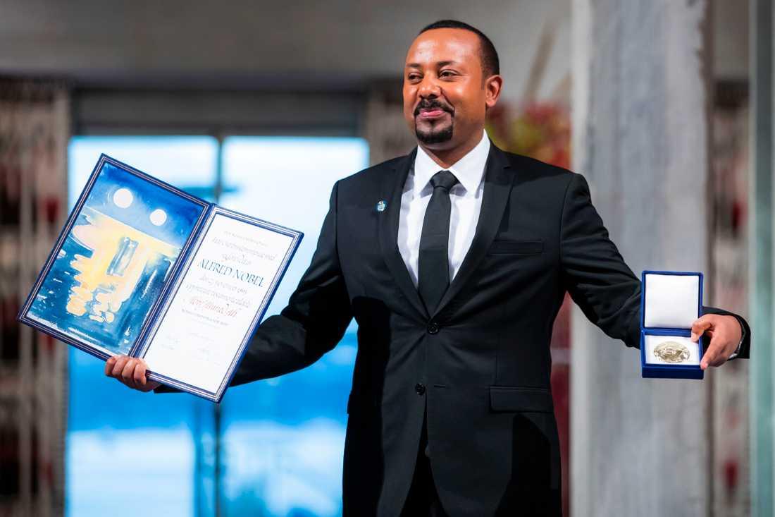 Abiy Ahmed får fredspriset för fredsmäklandet med Eritrea.
