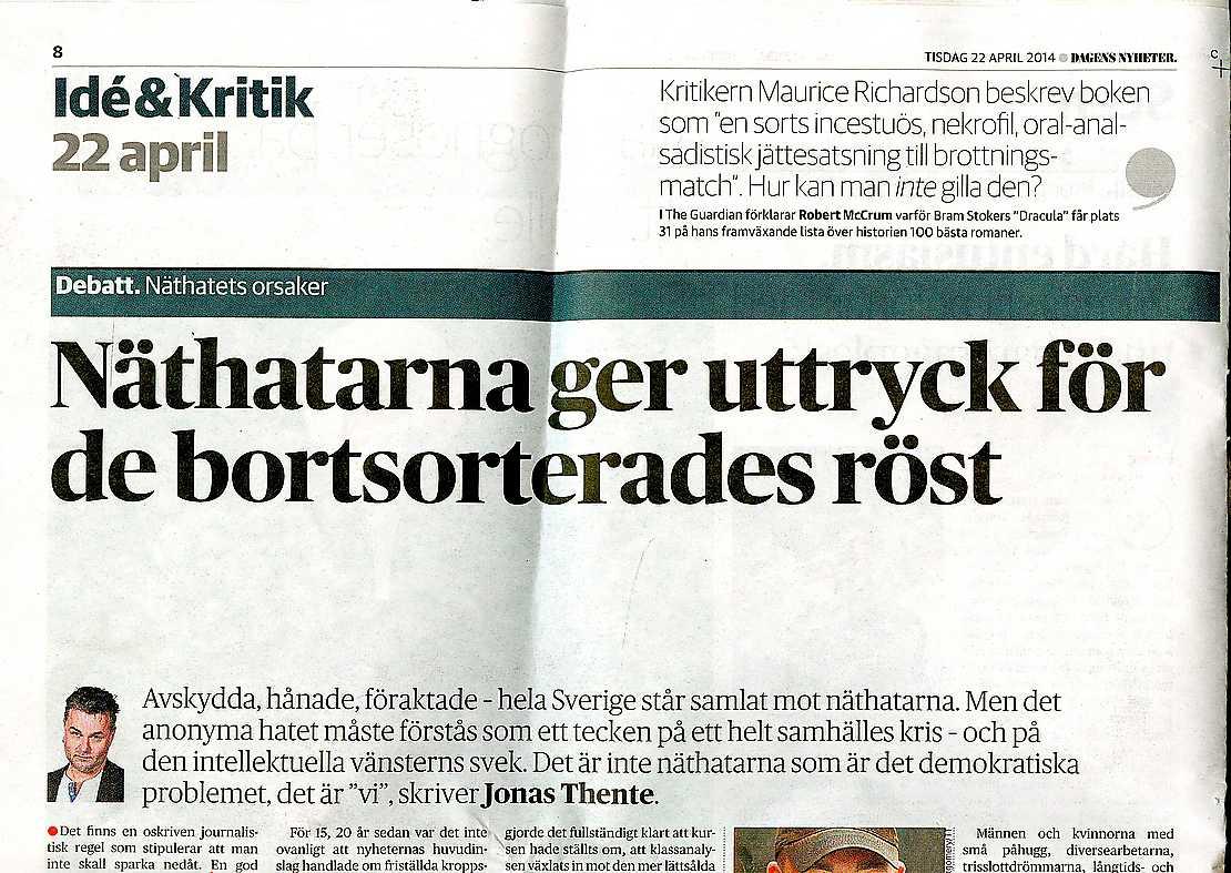 Jonas Thentes text i DN 22 april.
