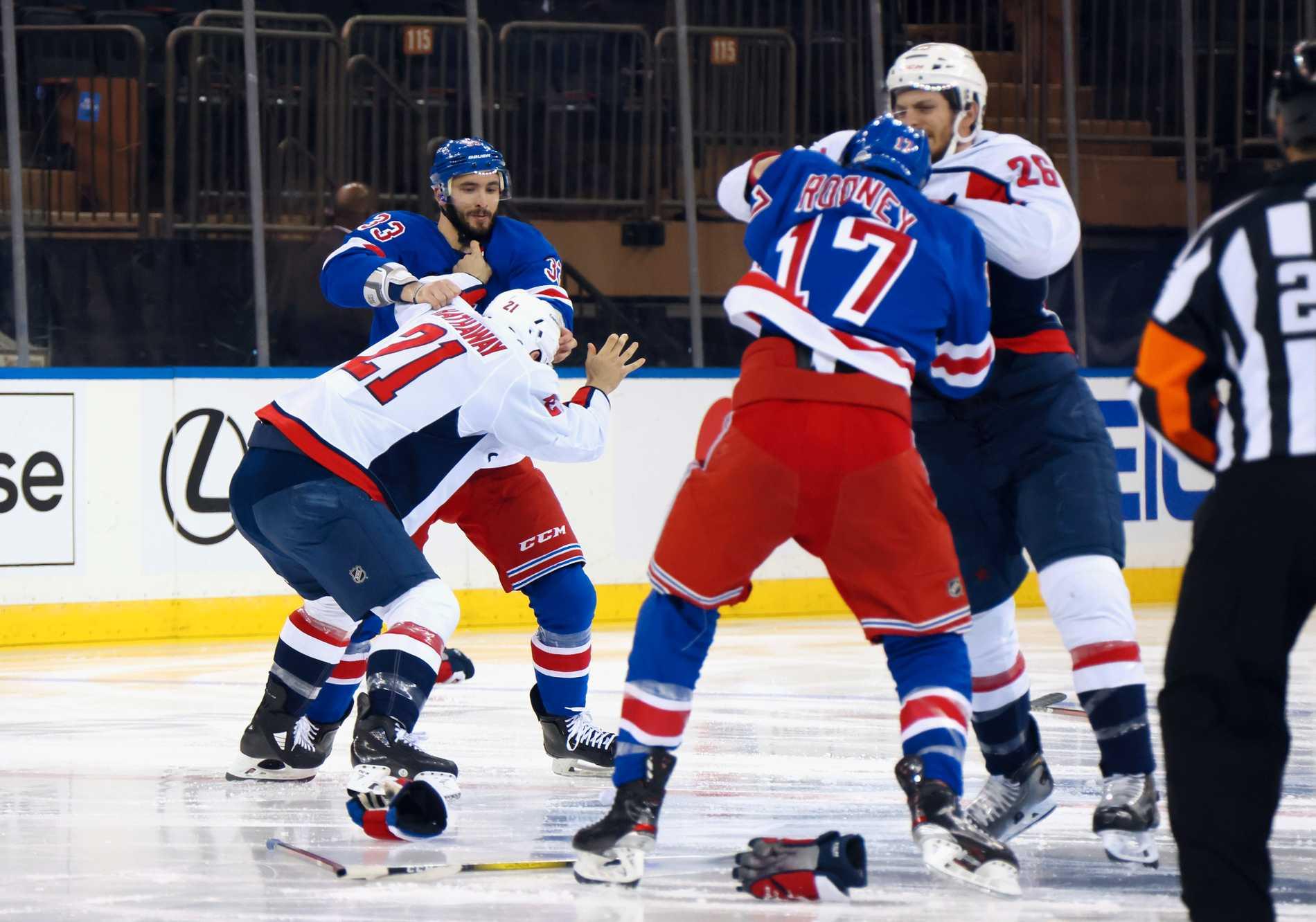 Det blev ett storbråk mellan New York Rangers och Washington.
