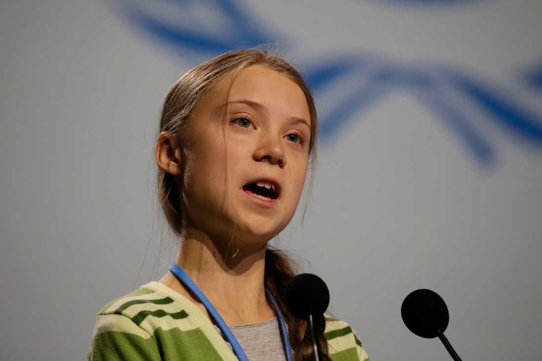 Greta Thunberg gick hårt åt direktörer och politiker under sitt tal i Madrid.
