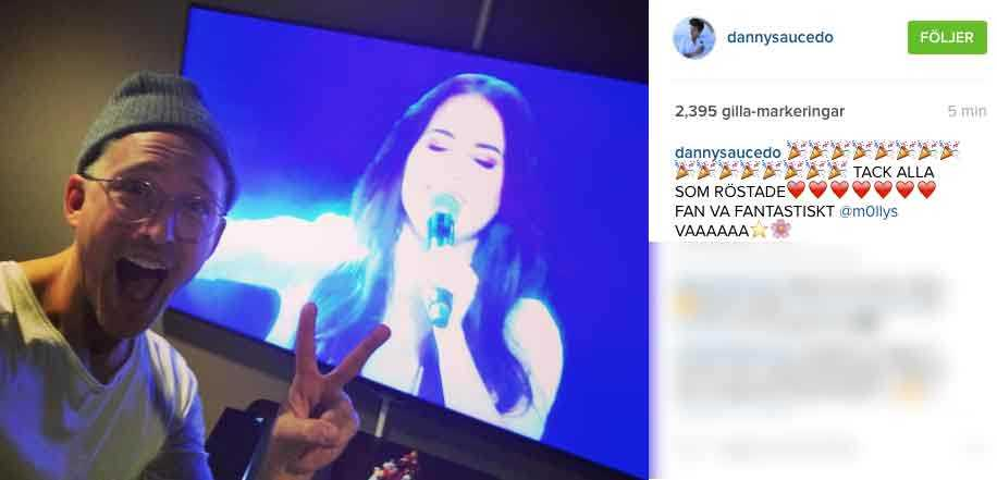 Danny Saucedo uttryckte sin glädje på Instagram när Molly gick till final i Melodifestivalen.