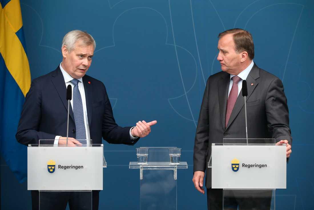 Finlands statsminister Antti Rinne och statsminister Stefan Löfven (S).
