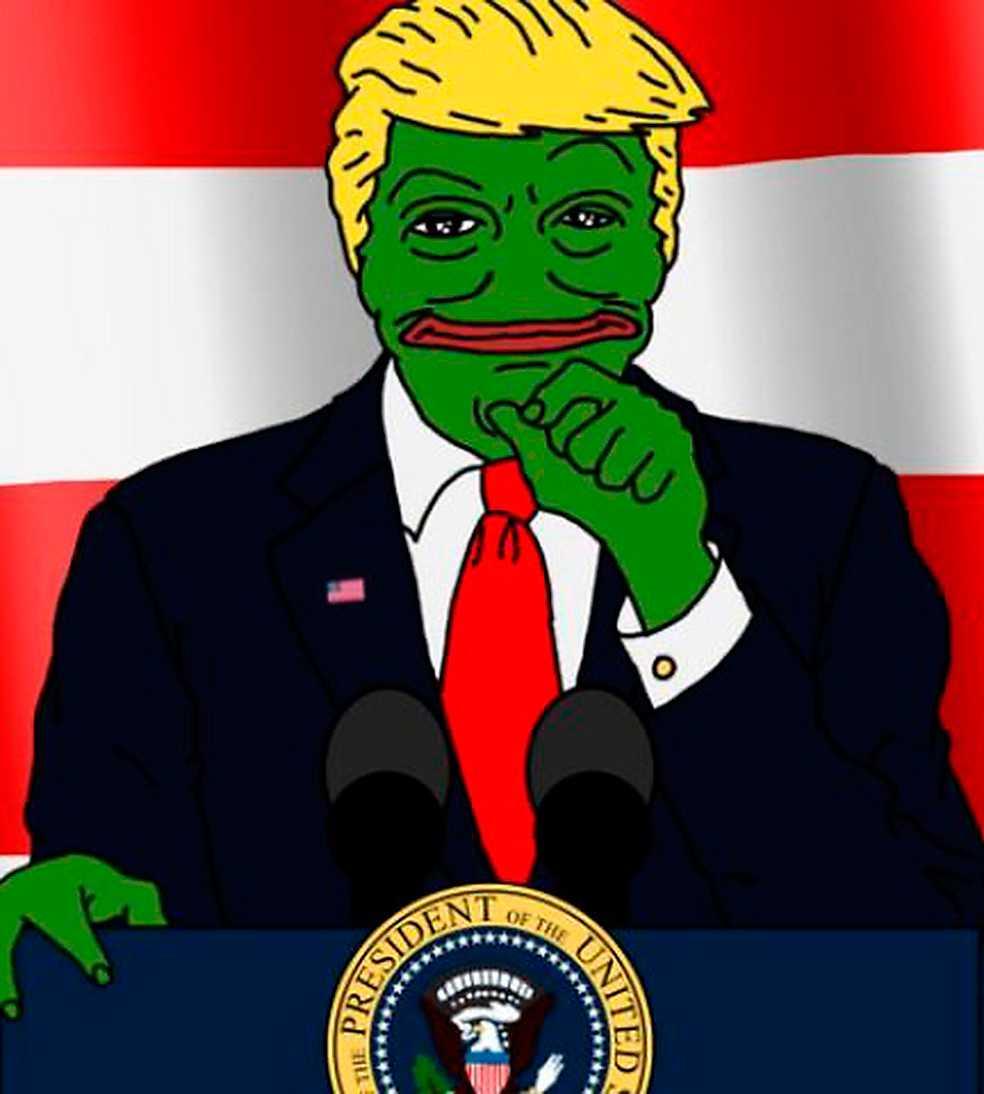 Pepe the frog Den tecknade grodan Pepe, här med Trump-frisyr, har blivit en maskot för alt-högern, en rörelse som väcker uppmärksamhet i USA:s större medier. Bild: Breitbart