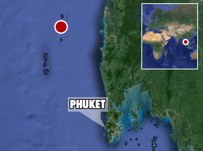 Olyckan inträffade mellan öarna Koh Bon och Koh Tachai norr om Similan-öarna i Thailand.