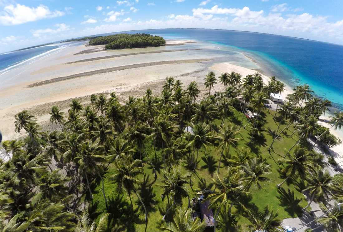 Vildare väder och stigande hav hotar Majuro-atollen. Arkivbild.