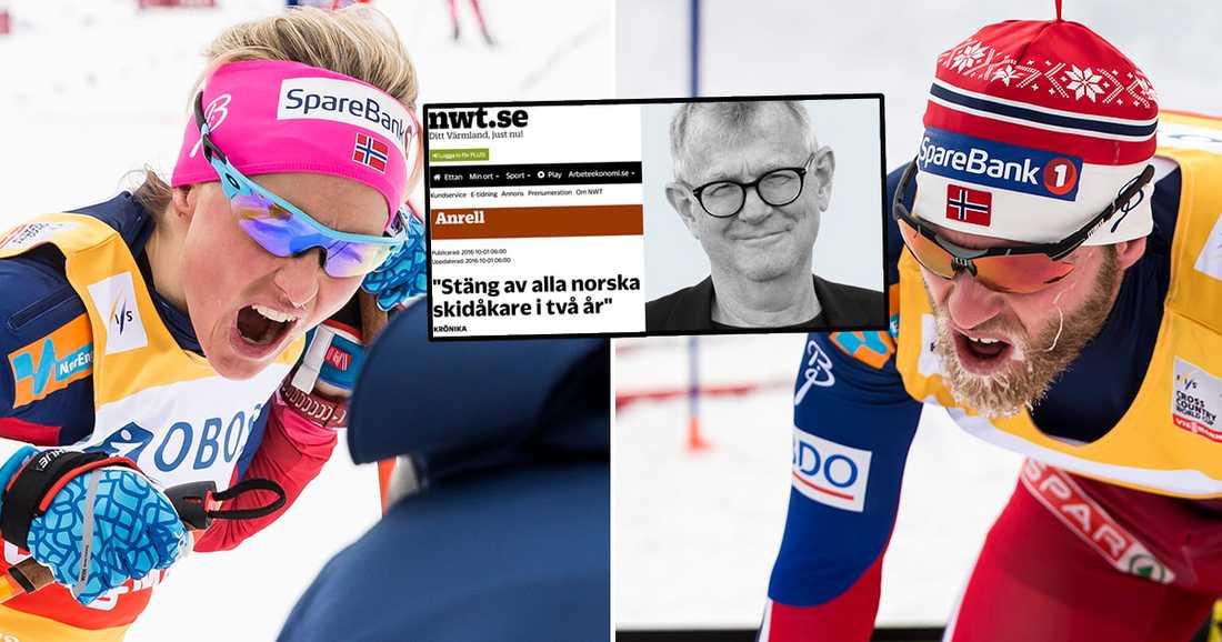 Lasse Anrells skriver i en krönika på Nya Wermlands-Tidningen att alla norska skidåkare bör stängas av i två år.