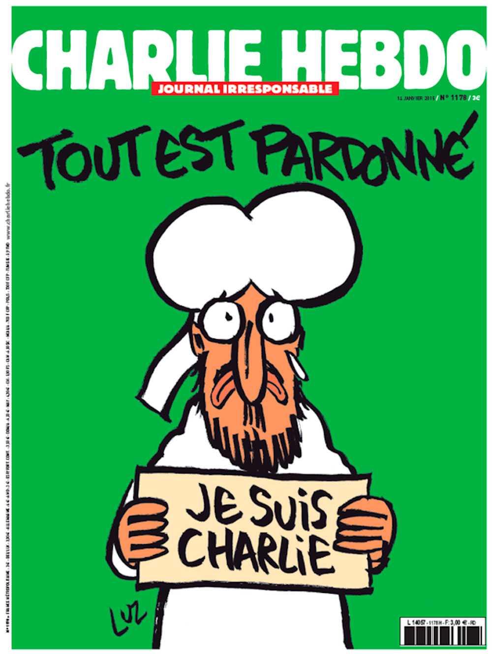 """Förstasidan av nya numret av satirtidningen Charlie Hebdo. Jan Hjärpe, professor och islamolog tolkar den som positiv: – Det är helt klart att syftet inte är att provocera. Den föreställer profeten Muhammed och har en tår i ögat och ser väldigt ledsen ut. Han håller skylten där det står """"Je suis Charlie"""". Vad den syftar till menar jag är det faktum att den stora majoriteten muslimer och troende inte accepterar det här våldet."""