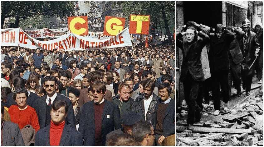 Protesternas uppgång – och fall. Massdemonstration med studenter och arbetare sida vid sida under majrevolten i Paris 1968 – och gripna studenter förs bort av fransk kravallpolis.