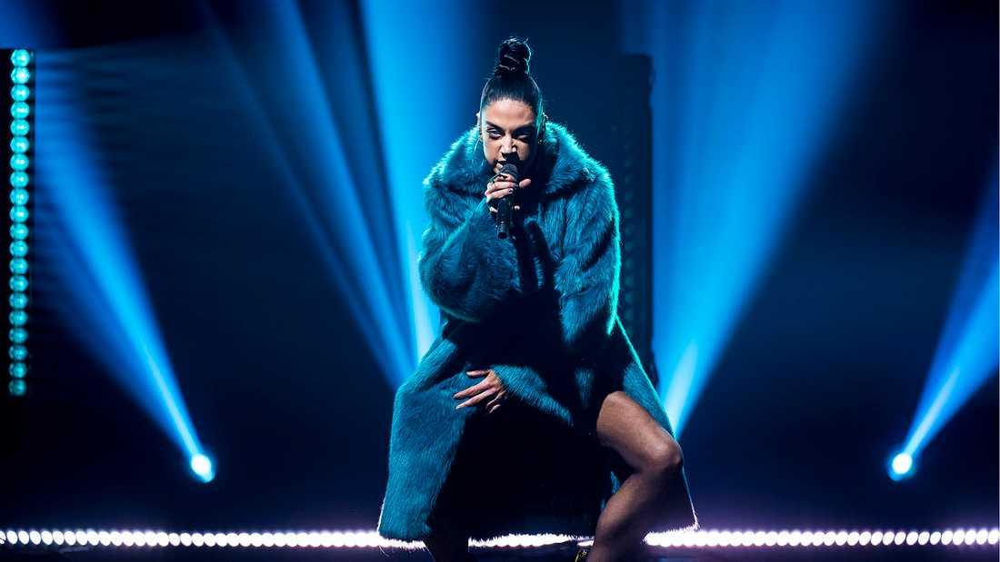 Maxida Märak i Andra chansen i Melodifestivalen 2018.