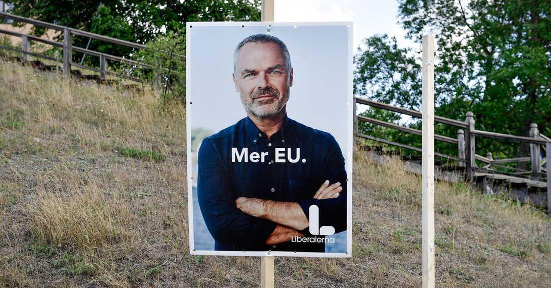 Liberalernas valaffisch med bild av partiledare Jan Björklund. Arkivbild.