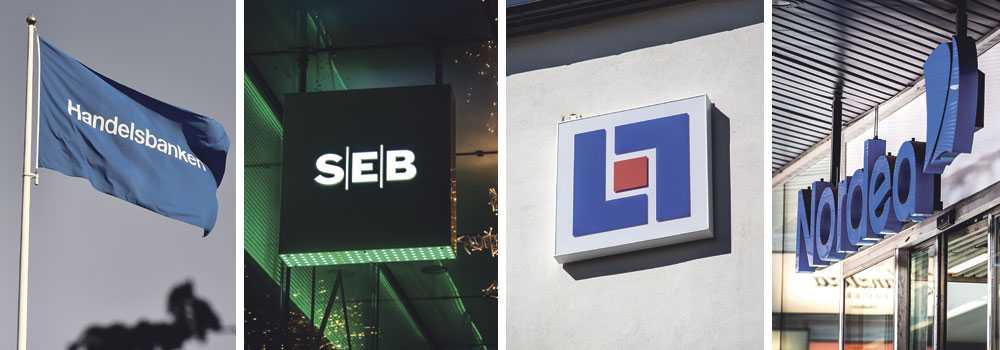 Nordea, SEB, Länsförsäkringar och Handelsbanken förekommer i läckan.