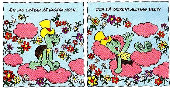 """Skalman knarkar ner sig, i avsnittet """"Trollkarlens röda blomma"""" från 1988."""