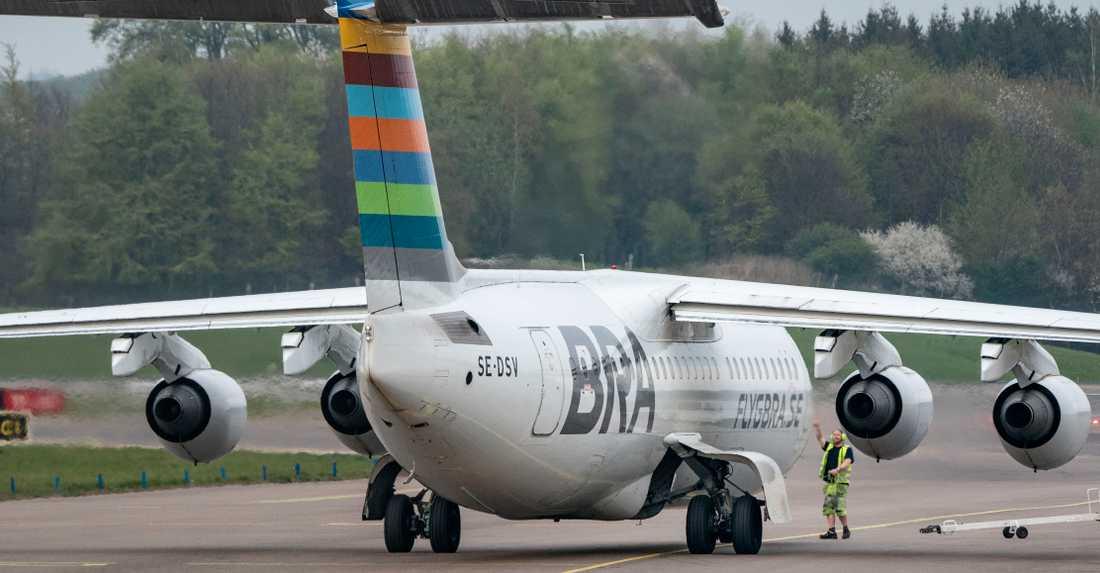 Ett av flygbolaget BRA:s flygplan vände tillbaka till Stockholm. Bilden är från ett annat tillfälle. Arkivbild.