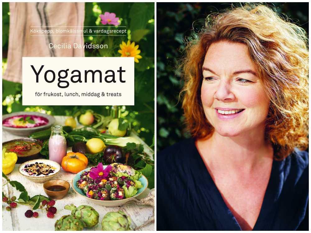 Cecilia Davidsson är aktuell med boken Yogamat. I boken finns bland annat recept på asiatisk risotto, körsbärssmoothie och tranbärsglass.