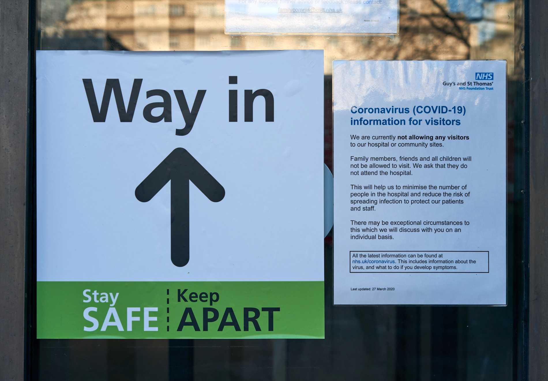 Information till besökare på St Thomas's hospital.