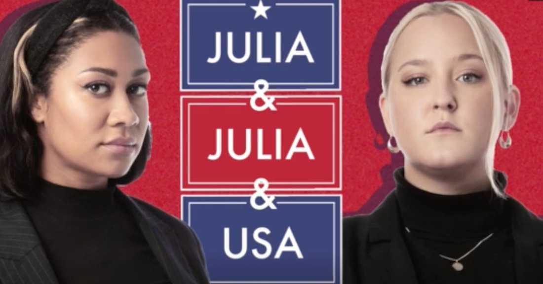 I tv-programmet Julia&Julia&USA följer vi poddstjärnorna Julia Frändfors och Julia Lyskova när de bestämmer sig för att bli experter på valet i USA.