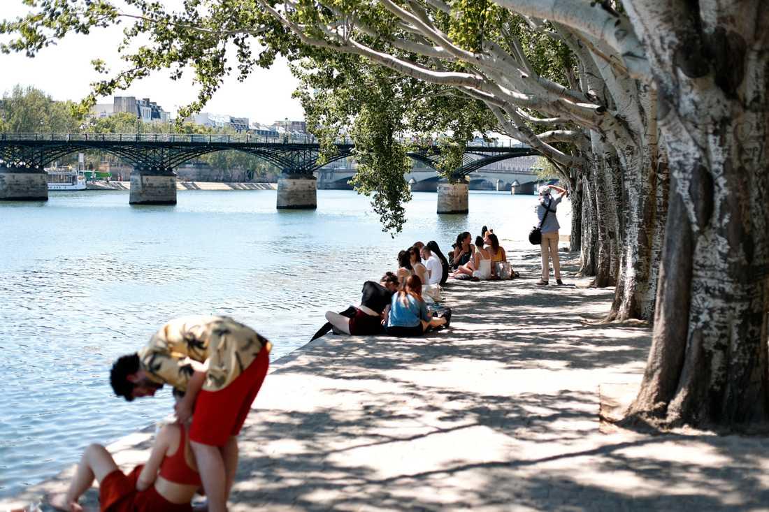 Soldyrkare njuter av vädret i Paris.