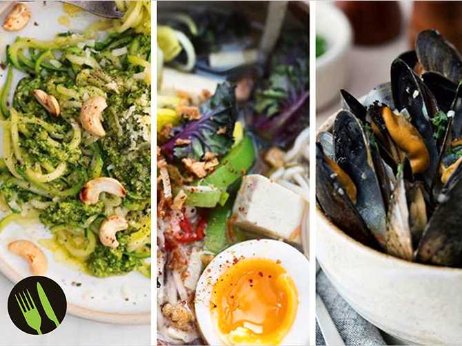 Zucchinispaghetti, ramen och ölkokta musslor.