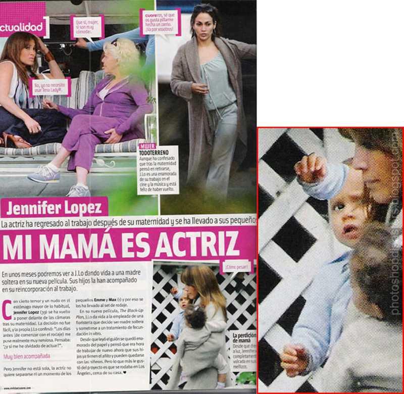 Här är en vanlig paparazzibild på Jennifer Lopez och hennes barn. Men vad har hänt i barnets panna?