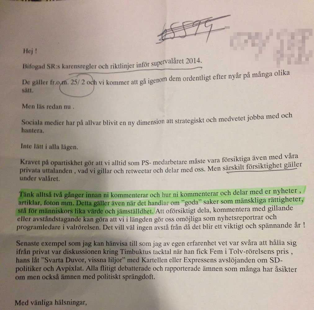 Brevet som SR:s kanalchef i Malmö skickade ut till sina medarbetare möttes av massiv kritik på Twitter.
