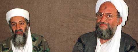 Bin Ladin tillsammans med  al-Zawahiri, som nu uppges bli ny ledare för al-Qaida.