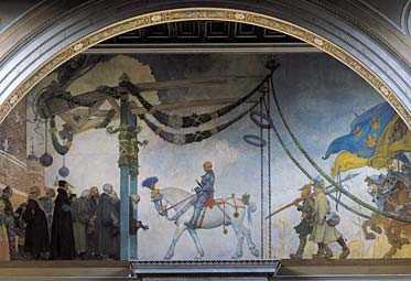 """Carl Larssons oljemålning """"Gustav Vasas intåg i Stockholm"""" placerades 1908 i övre trapphallen på Nationalmuseum. Intåget inträffade på midsommardagen – inte nationaldagen."""