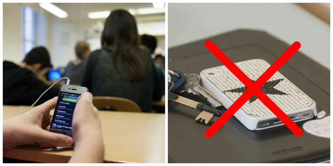 Ulf Nilsson och Kalmarsundsskolan förbjuder nu mobiler. (Fotona är exempelbilder)