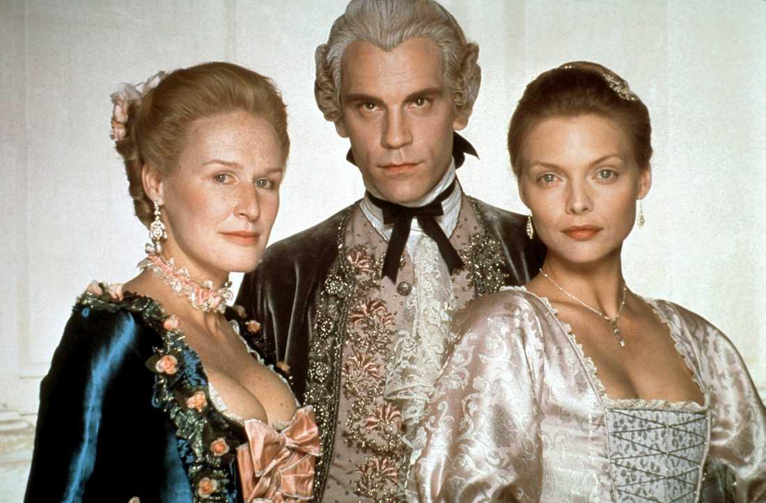 """Glenn Close, John Malkovich och Michelle Pfeiffer spelade i """"Farligt begär"""", som nu får en prequel i form av en tv-serie. Pressbild."""