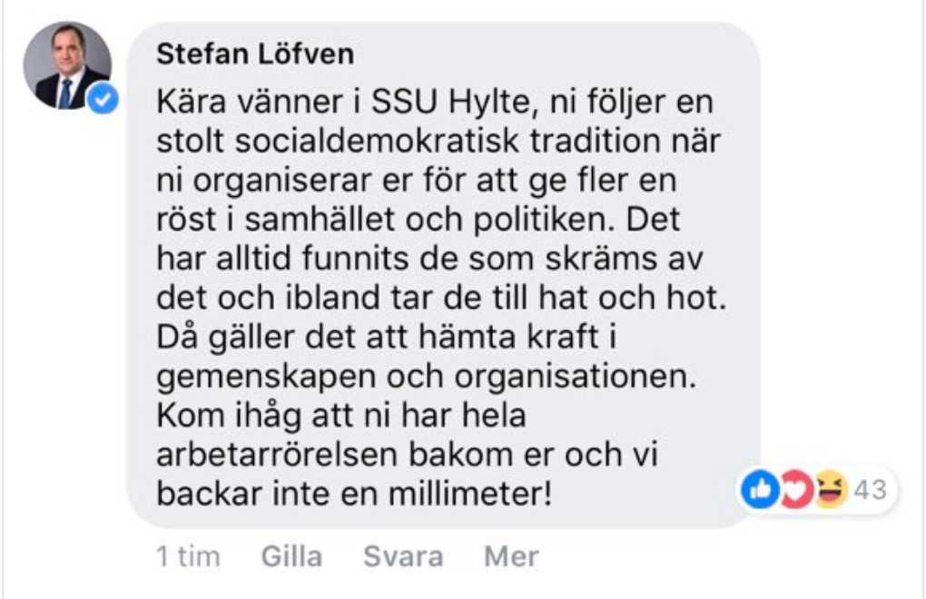 Statsminister Stefan Löfven ger SSU Hylte sitt stöd.